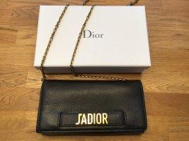 Dior J'Adior - Wallet on Chain Schultertasche in schwarzem Leder