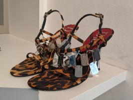 DIOR Leopard Dog Tag High Heel Sandalen