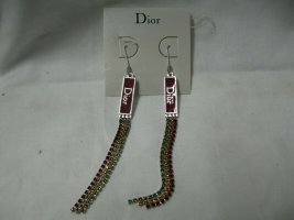 Christian Dior Bungeloorbellen goud-bordeaux Metaal