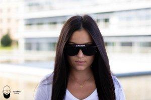 Christian Dior Hoekige zonnebril zwart-wit