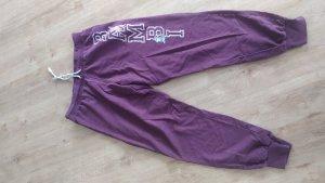Pantalón deportivo burdeos-blanco Algodón