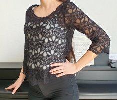 Divided H&M Spitzenbluse 3/4 ärmel-shirt Top gestricktes Oberteil strick Muster