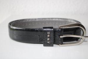 DKNY Ceinture en similicuir noir-argenté