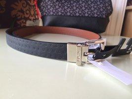 DKNY Cinturón de cuero de imitación negro-color plata