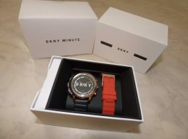 DKNY Watch With Leather Strap black-red