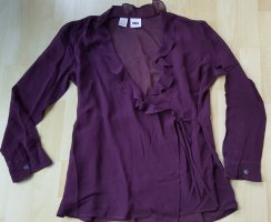DKNY Wraparound Blouse dark violet silk