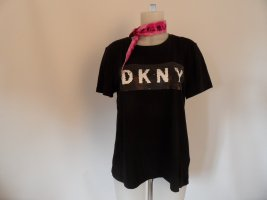DKNY Shirt Schwarz Gr, L/ 42 Mit 2x Farben Pailletten Logo & Basic Shirt