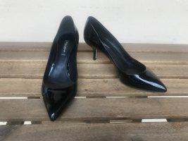 Dolce&Gabanna Pumps Gr.37 Neu Lack schwarz Kitten Heel Spitz Business mit Karton