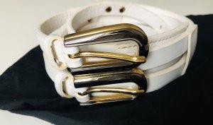 Dolce & Gabbana Cintura di pelle bianco-giallo-oro