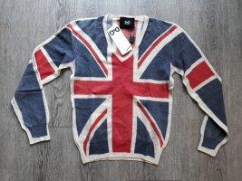 Dolce & Gabbana Langarm Pollover D&G Pulli rot blau Union Jack Muster Wolle Gr. 36 Neu