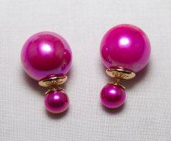 Pendientes de perlas magenta Material sintético
