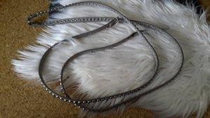 Podwójny pasek szary-srebrny Skóra