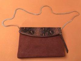 Dorothy Perkins Umhängetasche Foldover Clutch Schlangenprint braun gold Neu