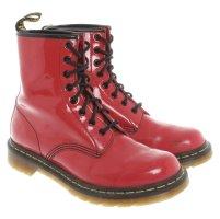 Dr. Martens Rote Stiefeletten aus Lack Leder