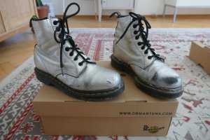 Dr. Martens, silber, Größe 39, Boots, gebraucht, Sohle gut, Leder, Schnürer