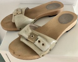 Dr. Scholl Clog Sandals natural white leather