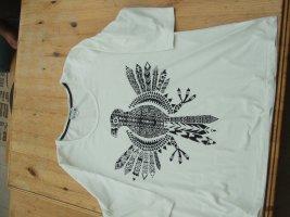 Dreiviertelarm-Shirt weiß, Große Größen, mit einem Adler Aufdruck und Glitzersteinen