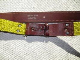 Dries van Noten Skórzany pasek żółty-brązowy