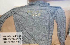Dünner Pulli mit kaputze und goldener schrift farbe grau GR, xl
