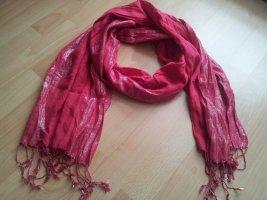 dünner Schal Tuch rosa rot silber Fransen