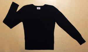 dünner-schwarzer Strick Pullover mit Spitze, langärmlig, Gr. M (38/40)