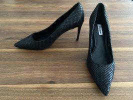 DUNE London Black-Reptile mid heel pumps
