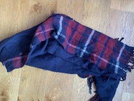 Primark Bufanda de lana rojo oscuro-azul oscuro