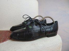 Dunkelblau Brogues Flats Italienische Leder Schuhe mit Schnürung - 36,5 und 37 - Derby Leder Schuhe - everybody vintage