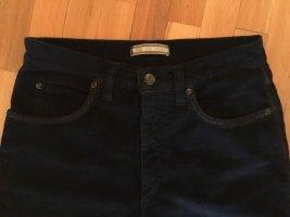 Zucchero Pantalon en velours côtelé bleu foncé coton