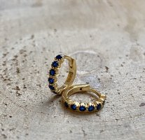 Silver Ear Hoops gold-colored-blue