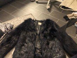 H&M Futrzana kurtka ciemnoniebieski