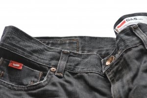 Gas Pantalon cinq poches bleu foncé coton