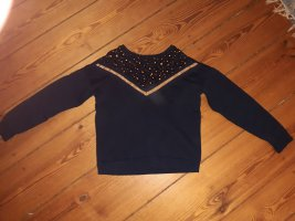 Cache & Cache Crewneck Sweater dark blue cotton