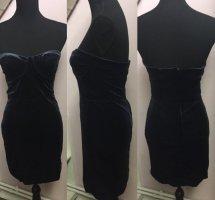 Dunkelblaues trägerloses Samtkleid von H&M