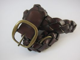 Promod Braided Belt brown red leather