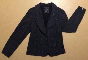 dunkelgraue, karierte Blazerjacke mit Knöpfen und Seitentaschen, Gr. S