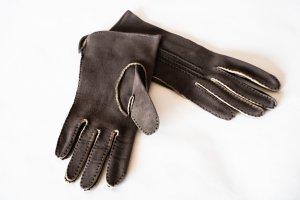 Rękawiczki skórzane ciemnoszary Skóra