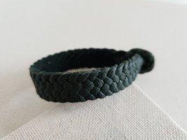 Bracelet en cuir bleu pétrole-gris ardoise