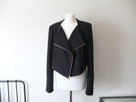 DvF Diane von Furstenberg Bikerjacke Größe 42 40 Wolle Jacke schwarz Gold Zipper