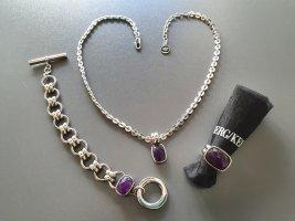 Dyrberg/Kern Zdobiony naszyjnik srebrny-ciemny fiolet Metal