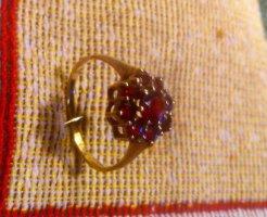 Juwelierarbeit Anillo de oro color oro-rojo oscuro tejido mezclado