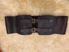 Vintage Cintura di pelle marrone-oro