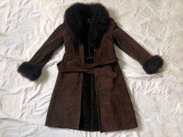 Mango Skórzany płaszcz ciemnobrązowy-czarno-brązowy