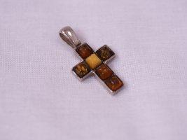 Echtes Bernstein Kreuz, Echt Silber, Kreuz Anhänger für Kette