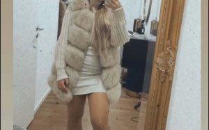 Luxury Fashion Chaleco de piel beige claro