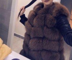 Fur vest brown-dark brown