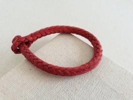 Bracelet en cuir rouge fluo-rouge foncé
