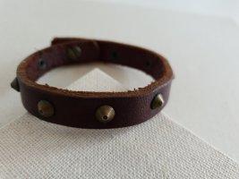Bracelet en cuir marron clair-brun