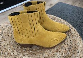 Echtleder Cowboy-Stiefelette in Gelb *NEU