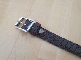Hüftgold Cinturón de cuero marrón oscuro